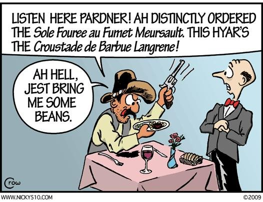 Cartoon, Cowboy at French Restaurant.JPG